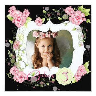 Partido de aniversário de 3 anos preto da foto das convite quadrado 13.35 x 13.35cm