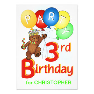Partido de aniversário de 3 anos real do urso de u convite personalizado