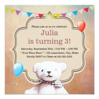 Partido de aniversário de 3 anos Stippling bonito Convite Quadrado 13.35 X 13.35cm