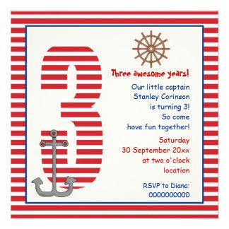 Partido de aniversário de 3 anos vermelho, branco  convites