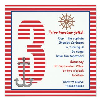 Partido de aniversário de 3 anos vermelho, branco convite quadrado 13.35 x 13.35cm