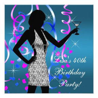 Partido de aniversário de 40 anos azul do rosa que convite personalizados