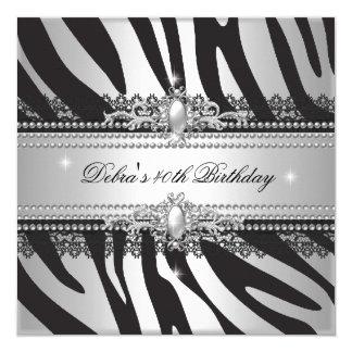 Partido de aniversário de 40 anos branco da prata convite quadrado 13.35 x 13.35cm