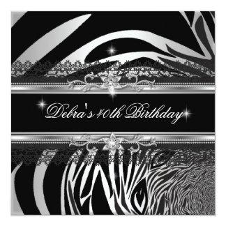 Partido de aniversário de 40 anos branco de prata convite quadrado 13.35 x 13.35cm