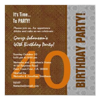 Partido de aniversário de 40 anos Brown moderno e Convite Quadrado 13.35 X 13.35cm