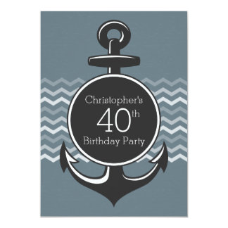 Partido de aniversário de 40 anos cinzento de convite personalizado