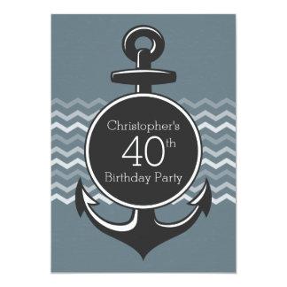 Partido de aniversário de 40 anos cinzento de convite 12.7 x 17.78cm