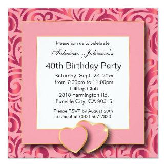 Partido de aniversário de 40 anos convite quadrado 13.35 x 13.35cm