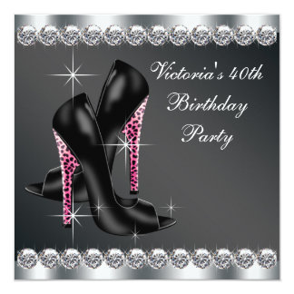 Partido de aniversário de 40 anos cor-de-rosa convite quadrado 13.35 x 13.35cm
