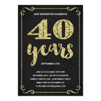 Partido de aniversário de 40 anos da folha do convite 12.7 x 17.78cm