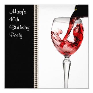 Partido de aniversário de 40 anos da mulher do convite quadrado 13.35 x 13.35cm