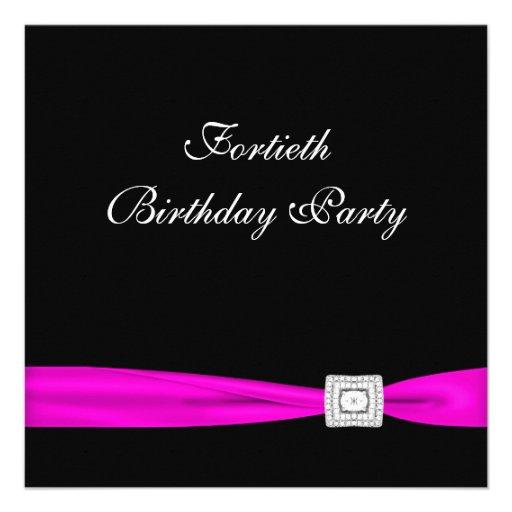 Partido de aniversário de 40 anos da mulher fúcsia convite