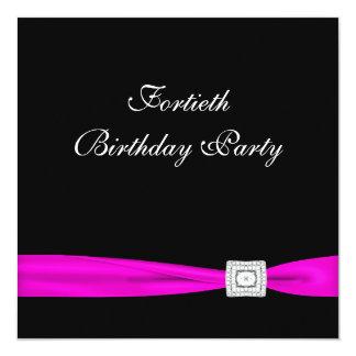 Partido de aniversário de 40 anos da mulher fúcsia convite quadrado 13.35 x 13.35cm