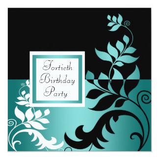 Partido de aniversário de 40 anos da mulher negra convite quadrado 13.35 x 13.35cm