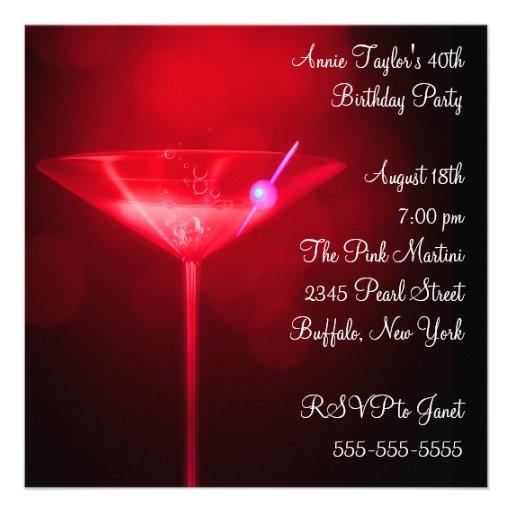 Partido de aniversário de 40 anos da mulher vermel convites