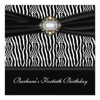 Partido de aniversário de 40 anos da zebra da convite quadrado 13.35 x 13.35cm
