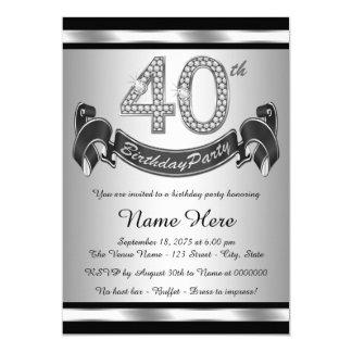 Partido de aniversário de 40 anos de prata convite 12.7 x 17.78cm