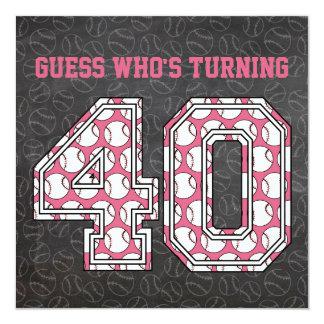 Partido de aniversário de 40 anos do rosa do convite quadrado 13.35 x 13.35cm