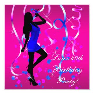 Partido de aniversário de 40 anos do rosa quente convite quadrado 13.35 x 13.35cm