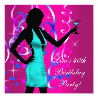 Partido de aniversário de 40 anos do rosa quente d convite personalizados
