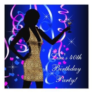 Partido de aniversário de 40 anos dos azuis convite quadrado 13.35 x 13.35cm