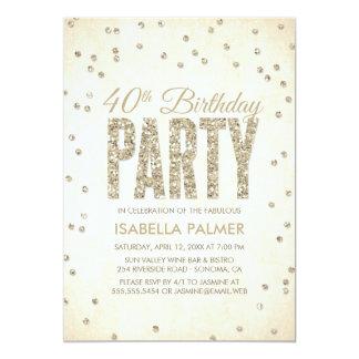 Partido de aniversário de 40 anos dos confetes do convite 12.7 x 17.78cm