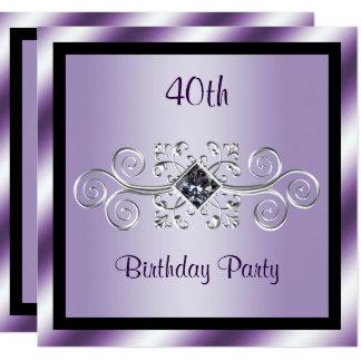 Partido de aniversário de 40 anos dos redemoinhos convite quadrado 13.35 x 13.35cm