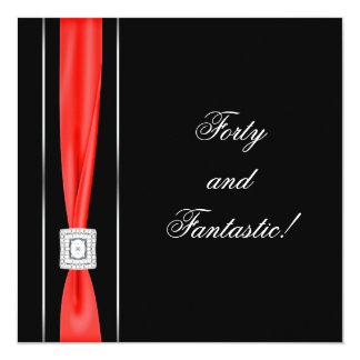 Partido de aniversário de 40 anos elegante da convite quadrado 13.35 x 13.35cm