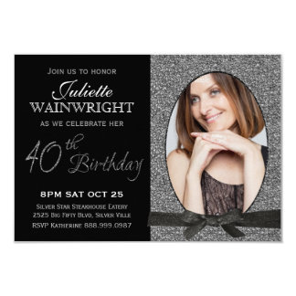 Partido de aniversário de 40 anos elegante da foto convite 8.89 x 12.7cm