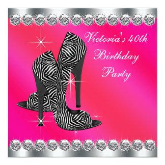 Partido de aniversário de 40 anos elegante do rosa convite quadrado 13.35 x 13.35cm