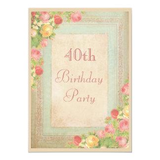 Partido de aniversário de 40 anos elegante dos convites personalizados