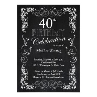 Partido de aniversário de 40 anos encantador do convite 12.7 x 17.78cm