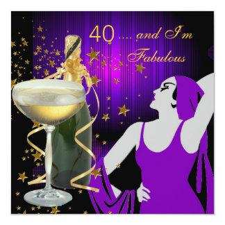 Partido de aniversário de 40 anos fabuloso convite quadrado 13.35 x 13.35cm