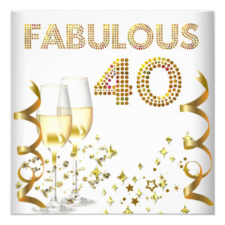 Partido de aniversário de 40 anos fabuloso de convite quadrado 13.35 x 13.35cm