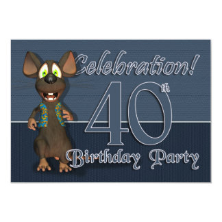 Partido de aniversário de 40 anos Invitaion - rato Convite 12.7 X 17.78cm