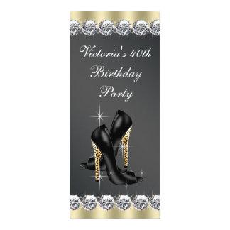 Partido de aniversário de 40 anos preto chique da convite 10.16 x 23.49cm