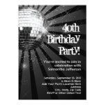 Partido de aniversário de 40 anos preto da bola do convite 12.7 x 17.78cm