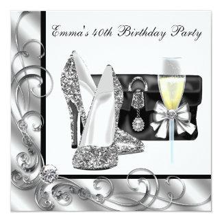 Partido de aniversário de 40 anos preto e branco convite
