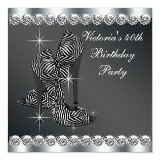 Partido de aniversário de 40 anos preto elegante convites