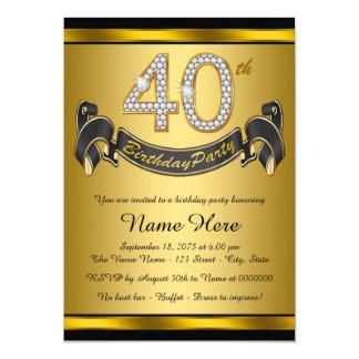 Partido de aniversário de 40 anos preto elegante convite 12.7 x 17.78cm