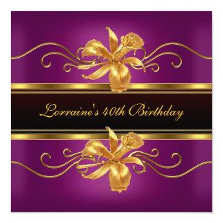 Partido de aniversário de 40 anos preto elegante convite quadrado 13.35 x 13.35cm