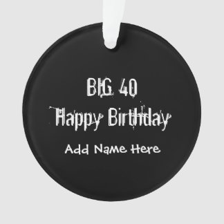 Partido de aniversário de 40 anos preto ornamento