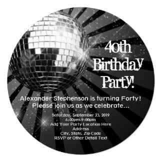 Partido de aniversário de 40 anos redondo da bola convites personalizados