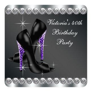 Partido de aniversário de 40 anos roxo elegante da convite quadrado 13.35 x 13.35cm