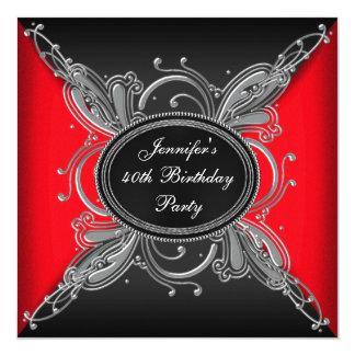 Partido de aniversário de 40 anos vermelho da convites