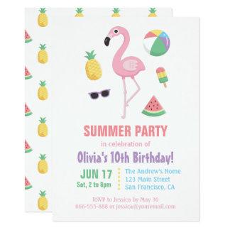 Partido de aniversário de criança do flamingo da convite 11.30 x 15.87cm