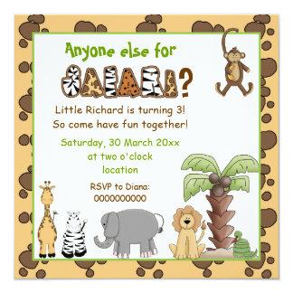 Partido de aniversário de criança do safari dos convite personalizado