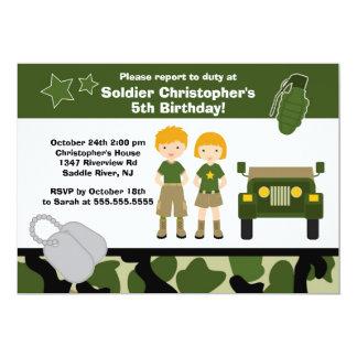 Partido de aniversário de criança do soldado da convite 12.7 x 17.78cm