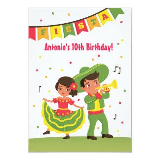 Partido de aniversário de criança mexicano bonito convite 12.7 x 17.78cm