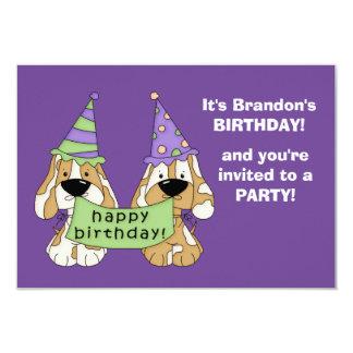 Partido de aniversário de criança roxo dos convite 8.89 x 12.7cm